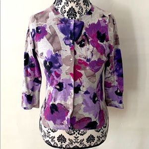Express Purple Gray Floral Fitted Cardigan